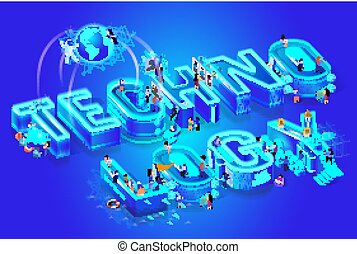 Technology 3d Isometric Word, Little People Around