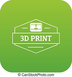 Technology 3d printing icon green vector