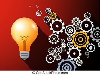 Technology Abstract Vector Background with Cogs and Bulb