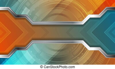 Technology abstract video animation with gear shape and arrows