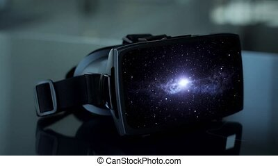 vr headset with virtual space animation - technology and...