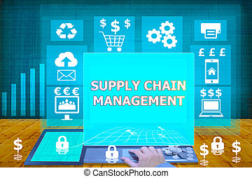 technology and biz concept. working on his laptop in the secured office, select icon supply chain management on the virtual display
