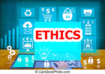 technology and biz concept.select icon ETHICS on the virtual...