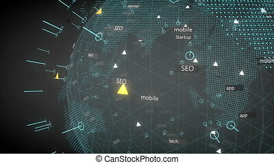 Technology and business background animation