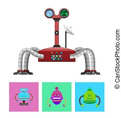Technology and Creatures Set Vector Illustration