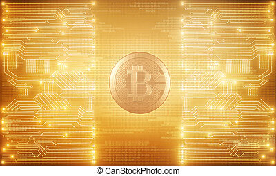 Technology and e-business concept - Bright glowing golden...