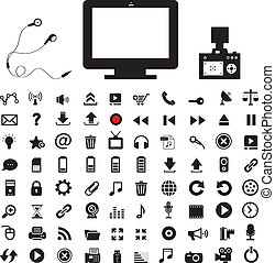technology and media icon set