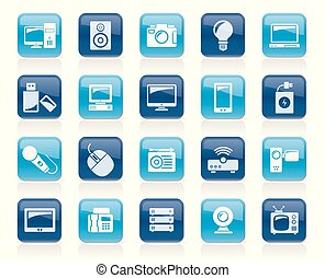 Technology and multimedia devices icons