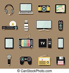 Technology and multimedia digital devices icons set