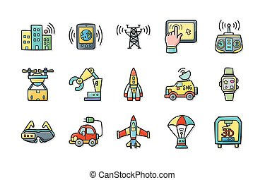 Technology and network icons set,eps10