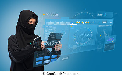 muslim woman in hijab with tablet pc computer - technology...