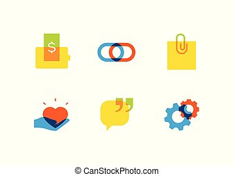 Technology and social media - flat design style icons set