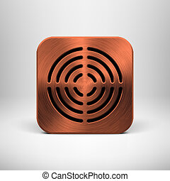 Technology App Icon with Bronze Metal Texture