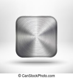 Abstract technology icon (button) with metal texture (stainless steel, chrome, silver), realistic shadow and light background for internet sites, web user interfaces (ui) and applications (app). Vector design illustration.