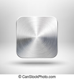 Technology app icon with metal texture for ui - Abstract ...