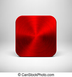 Technology App Icon with Red Metal Texture