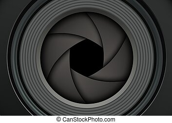 Technology background camera lens with shutter.