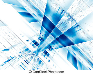 Technology background - futuristic structure with rays burst - digitally generated image