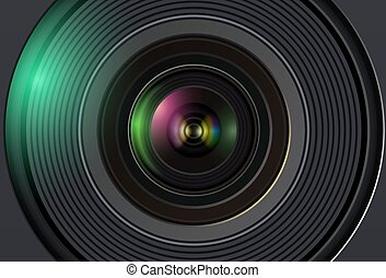Technology background with camera lens