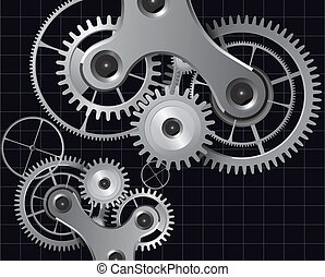 Technology background with metal gears and cogwheels, vector...