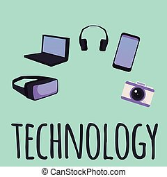 Technology banner with gadgets and electronic devices, flat ...