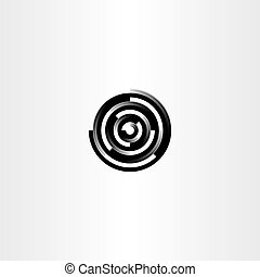 technology black circle abstract logo icon