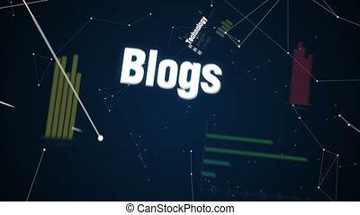 Technology, Blogs, Social media, Multi channel, Mobile, Text animation '' DIGITAL MARKETING'