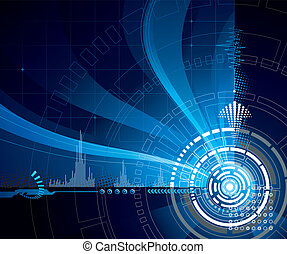Technology Blue - Technology abstract vector background in...