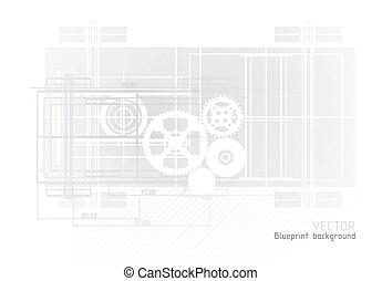 Technology blueprint abstract designwith gear
