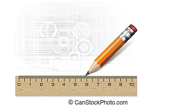Technology blueprint abstract design with pencil and ruler