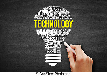 TECHNOLOGY bulb word cloud collage, business concept on blackboard