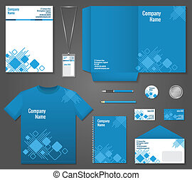 Technology business stationery template - Blue and white...
