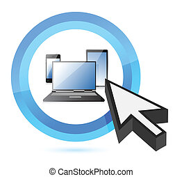 technology button and cursor illustration