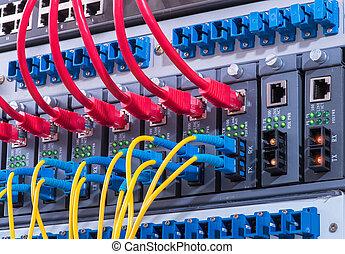 Technology center with fiber optic equipment