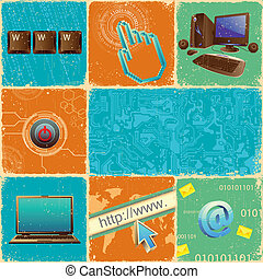 Technology Collage - illustration of technology element with...