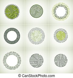 Technology communication green cybernetic elements collection with arrows. Set of vector abstract circuit boards in the shape of circles.