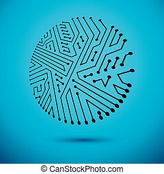 Technology communication round cybernetic element. Vector abstract illustration of circuit board.