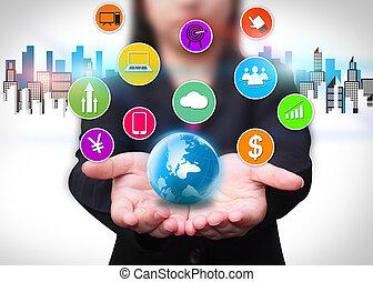 Technology communication, social network concept.
