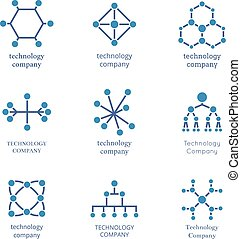 Technology company logo set. Vector technological information network icons