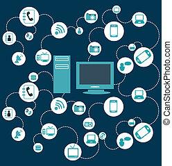 technology computer design over blue background vector...