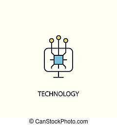 technology concept 2 colored line icon. Simple yellow and blue element illustration. technology concept outline design