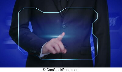 technology concept - businessman pressing headphones button on virtual screens