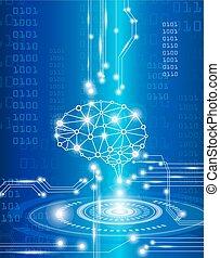 digital brain genius - technology concept, digital brain ...