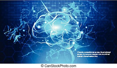 Technology Concept, Digital Brain With Electric Circuit Binary Code Blue Background