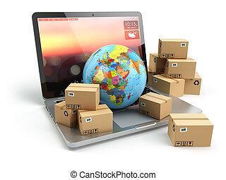technology., concept., hajózás, felszabadítás, dobozok, munkaszervezési, online, földdel feltölt, keyboard., kartonpapír, laptop