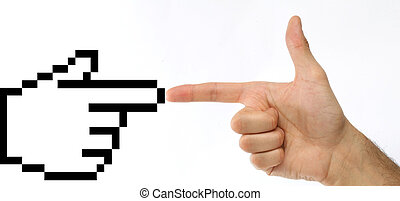 Technology concept - Human hand and a mouse pointer