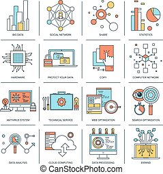 Technology concepts - Vector set of flat line concepts on...
