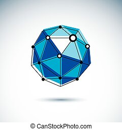 Technology conceptual logo. 3D origami abstract mesh object, vector design element.