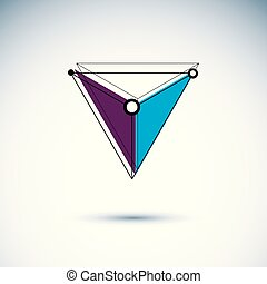 Technology corporate emblem. Abstract isometric construction, low poly vector illustration.