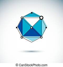 Technology corporate logo. Abstract 3D polygonal wireframe object, vector geometric low poly design element.